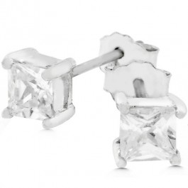 Princess Cut Mini Stud Earrings