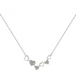 Eternal Hearts Sterling Silver Necklace with Pave Round Cut Clear CZ Hearts in Silver Tone