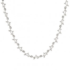 Natalies Vine Necklace with Prong Round Cut Clear CZ in Silver Tone
