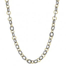 Egyptian Princess Necklace with Alternating Gold and Silver Chains with Black Jewelers Ink Accents in TuTone