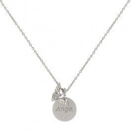 Angel Wings Necklace with Round Cut Clear CZ with Angel Script and Angel Wing Charms in Silver Tone