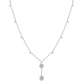 Strongest Heart Necklace with Heart Charms and Pave Round Cut Clear CZ in Silver Tone