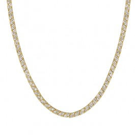 Remembrance Necklace with Pronged Trillion Cut Clear CZ in Gold Tone