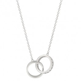 Eternal Love Necklace with Channel Round Cut Clear CZ in Silver Ring Charms in Silver Tone