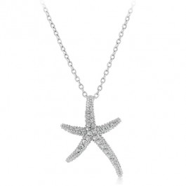 Starfish Necklace with Round Cut Clear CZ with Milligrain Accents in Silver Tone