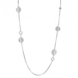 Linked Circle Necklace with Round Cut Peridot CZ Linked with Silver Circle Charms in Silver Tone