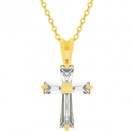 Goldtone Baguette Cross