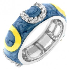 Light Blue Horseshoe Enamel Ring