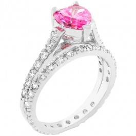 Pink Heart CZ Ring Set