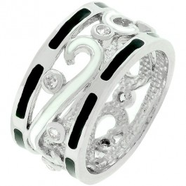 Black & White Enamel Eternity Band
