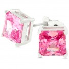 Princess Cut Pink Ice 7mm Studs