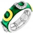 Dark Green Enamel Horseshoe Ring