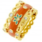 Triple the Fun Orange Flower Ring