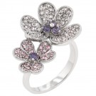 Floral Clear and Purple Cocktail Ring