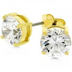 3ct 7mm Round CZ 14k Gold Bonded Sterling Silver Stud Earrings